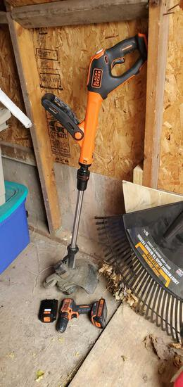 S- Black & Decker Cordless Weed Wacker with Cordless Drill