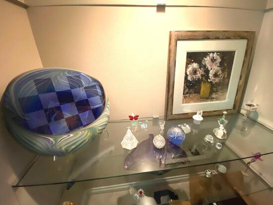 HW- Glass Figurines, Framed Flower Picture, Paper Weights