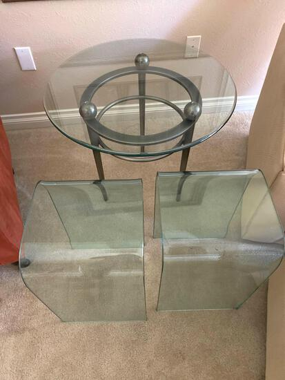 """LR- Glass End Table with """"Tw-Easy"""" Glass Tables"""