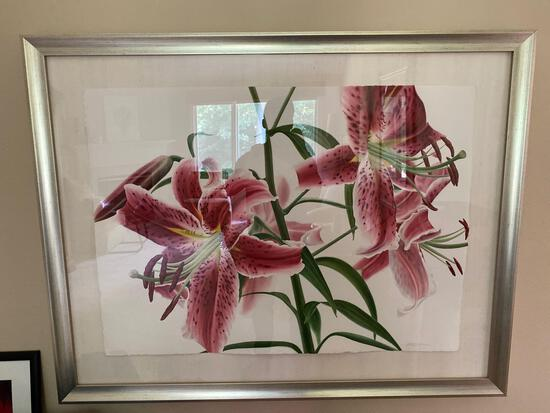 Pink Lilies (white background) by Daivd Herzig