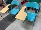 W- (2) Metal Chairs with Desk