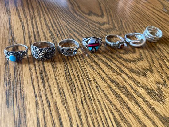 K- (7) Sterling Silver Rings