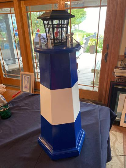 Blue and White Lighthouse by D&B Lighthouses and Crafts