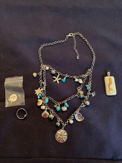 """Jewelry Size 7 Ring, 16"""" necklace, Mermaid Pendent, Seas The Day Pendent"""