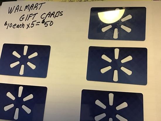 (5) $10 Walmart Giftcards