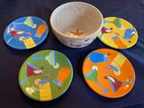 Set of (4) Plates and Bowl