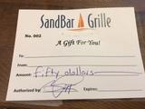 (1) $50 SandBar Grille Giftcard