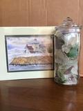 Jar of Erie Beach Glass and Lighthouse Print Mark Sherman