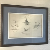 Framed Pen and Ink Colleague, Lighthouse Drawings by David Koopmans 3/100