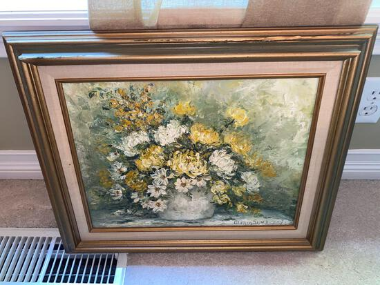 U- Yellow and White Flowers Oil Painting