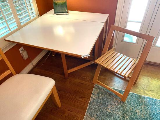M-Folding Oak Formica Table and (4) Chairs