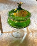 1- (1) Green Depression Glass Candy Dish
