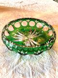 1- Green Depression Crystal Cut Glass Footed Bowl