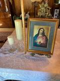 1- Framed Jesus Print on Brass Stand