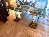 2- Wood Glass Top Sofa Table