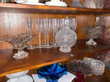 5- (3) Glass Dishes, Crystal Flutes, Candy Dish