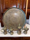 9- Arabic Brass Platter, Coffee Servers