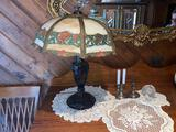 9- Antique Cast Metal Base Stained Glass Lamp with Decor