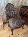 13- Upholstered Wood Frame Round Back Chair