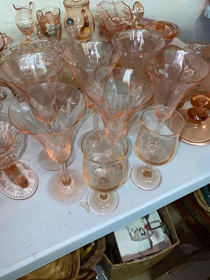 BS2- Lot of (8) Pink Depression Glass