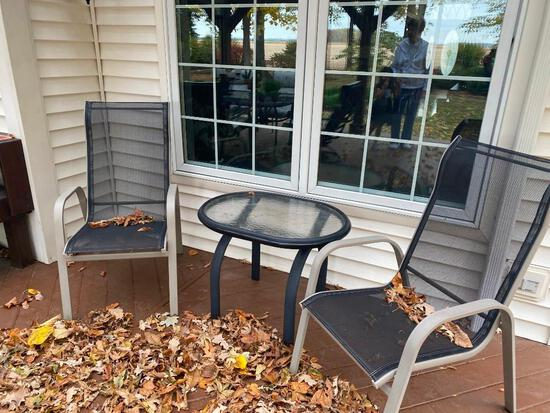 Outdoor Coffee Table and (2) Chairs