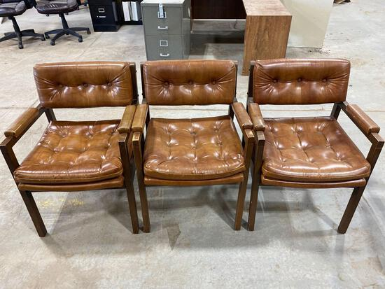 Lot of (3) Leather Office Chairs.