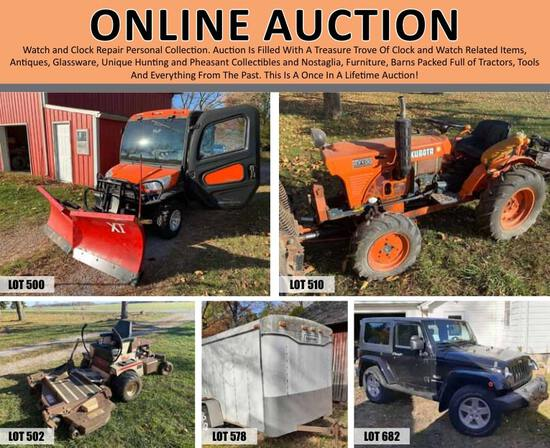 Jeep, Kubota Tractor, Trailer, & Antiques Auction!