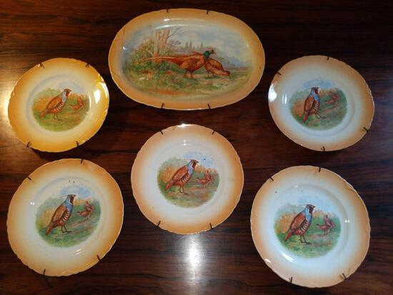 F- Set of (5) Bird/Game Plates and (1) Serving Platter