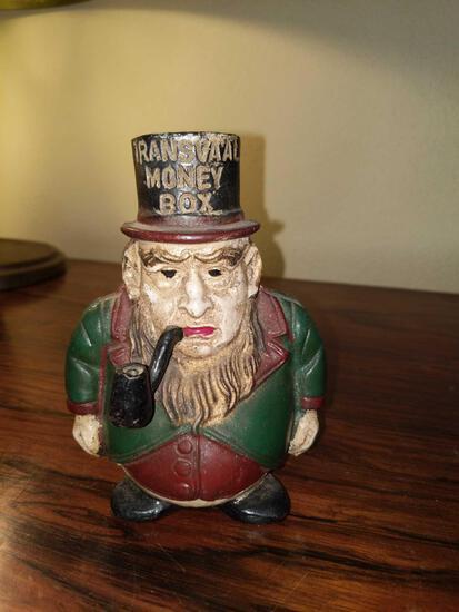 F- Antique Transvaal Money Cast Iron Bank