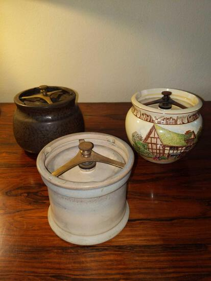 F- Lot of (3) Antique Tobacco Containers