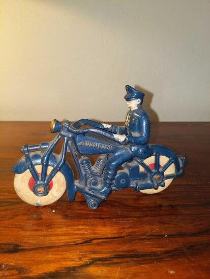 LR- Antique Cast Iron Hubley Police Motorcycle