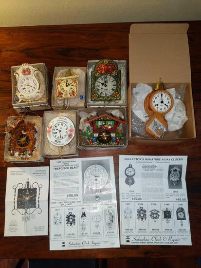LR- Lot of (7) New Wintermantle Miniture Clocks