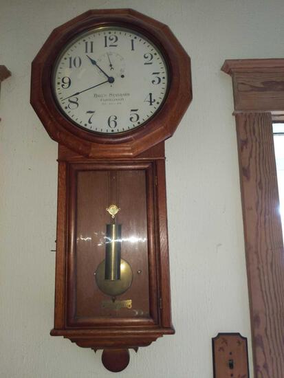 DR- Antique Oak Ball's Standard Regulator Wall Clock