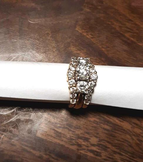 Diamond Wedding Ring with (2) Attached Bands with Diamonds