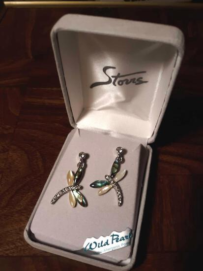 Wild Pearls Dragonfly Earrings