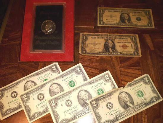 1971 Proof Silver Dollar, Paper Money