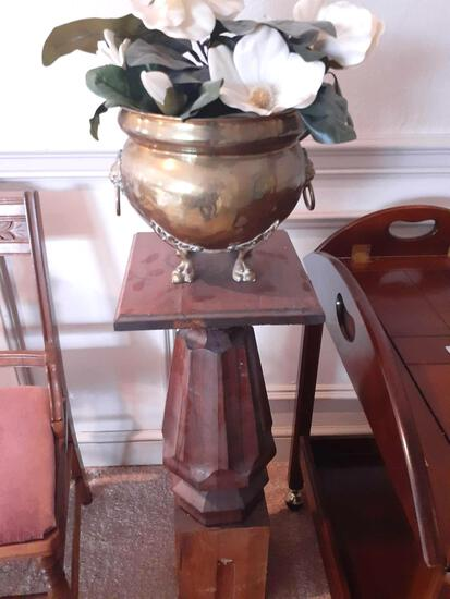 LR- Banister Post and Brass Pot with Faux Flowers