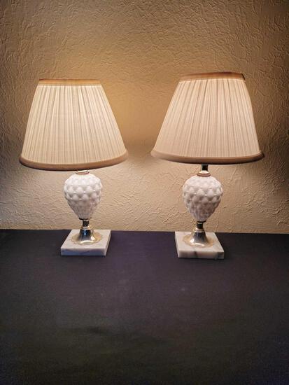B1-Pair of Milk Glass Lamps