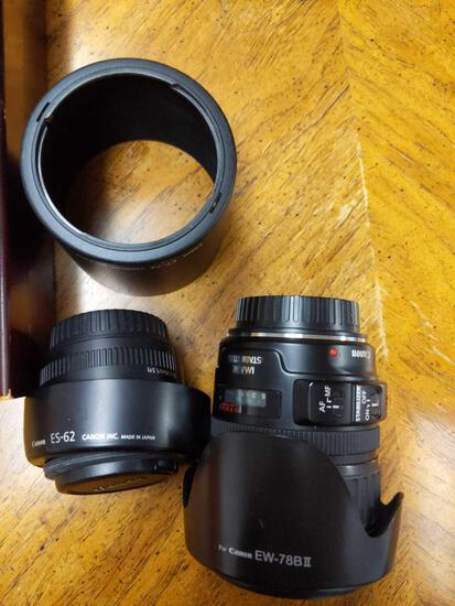 B- Canon EF 28-135mm EW-78BII , Canon EF 50mm ES-62 and Canon ET-73