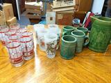 B- Coca-Cola, Currier & Ives, Green Mugs and Crock
