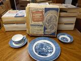 B- (9) Sets Currier & Ives Imperial Blue Dinnerware
