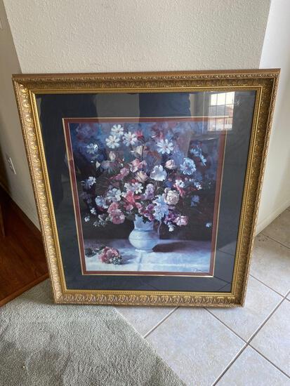 LR- Flower on Chintz Framed Print