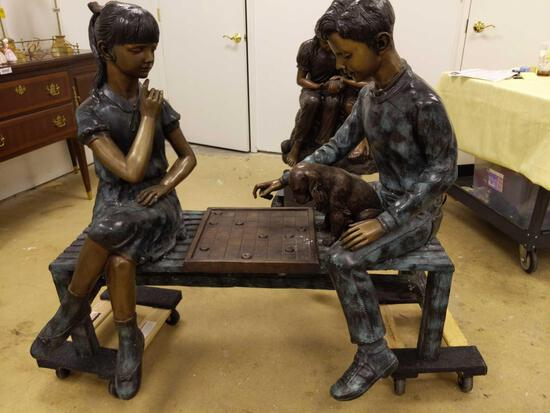 R4- Bronze Statue of Boy and Girl Playing Checkers with Dog