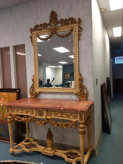 R1- Red Marble Top Console with Mirror