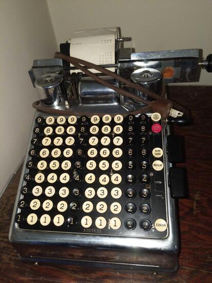 LR- Chrome Burroughs Adding Machine
