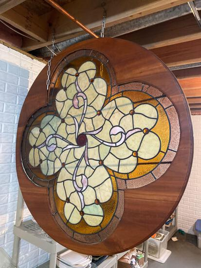 B- Leaded stained glass window