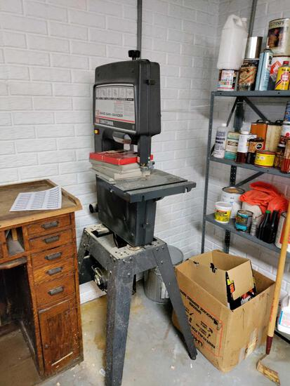 B- Band Saw-Sander Craftsman with Extra Blades on Stand