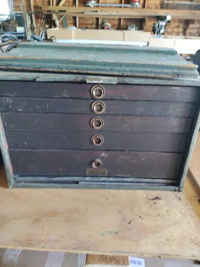 G- Machinists Wood Box and Contents