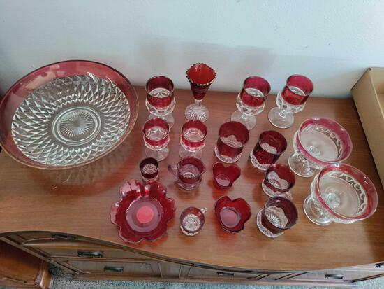 Garage 1 - Lot of Ruby Colored Cut Glass