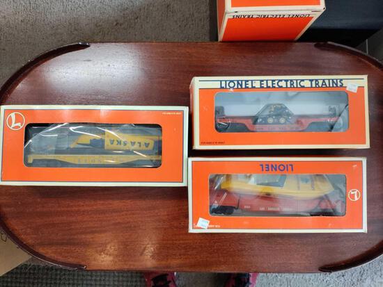 G2- (3) Lionel Electric Trains L.A. County Flatcar, Flatcar with Loader, Flatcar with Airplane